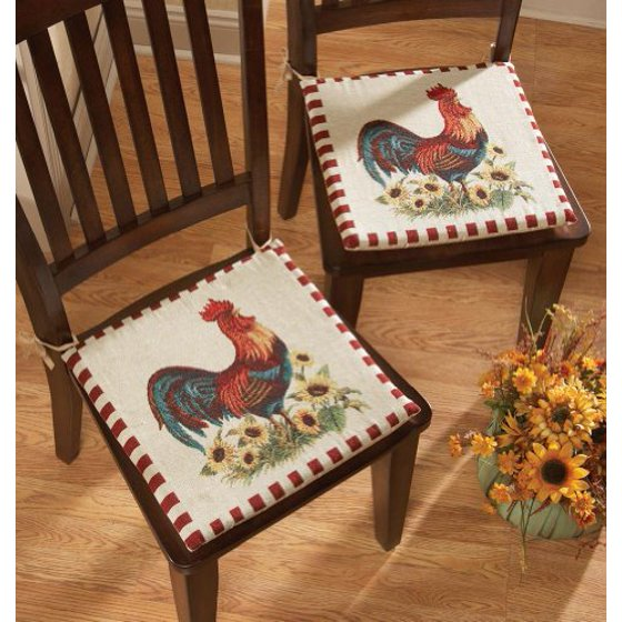 Kitchen Table Chair Cushions: Rooster Decor Chair Pad Cushions