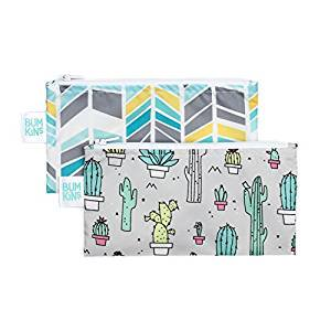 Small Reusable Bags (Reusable Snack Bag Small 2 Pack - Bumkin - Quill/Cacti)