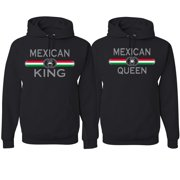 Mexican King Queen Spanish Latino Pride His and Hers Matching Couples Hoodies Sweater Set, Black, Mens S-Womens S