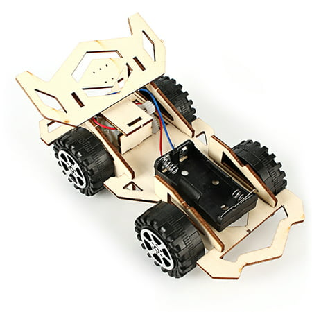 Wood Racing Car DIY Kit Kids Toy DIY Kit Electric Wooden Racing Car for Children Science and Technology Inventions Assembled Experiment DIY Model Building Kits (Day Cab Kits)