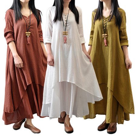 Women Plus Size Maxi Dress Casual Irregular Boho Dresses Layered Vintage  Loose Long Sleeve Linen Dress, Red