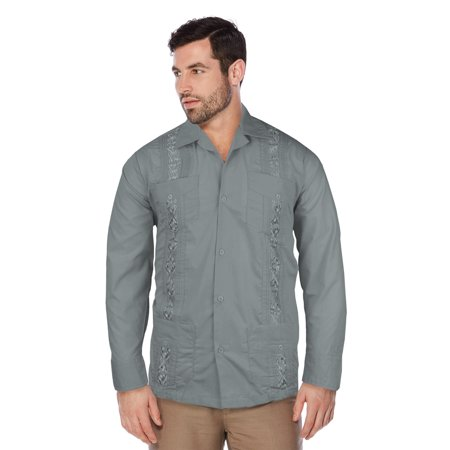 Guayabera Men's Cuban Beach Wedding Long Sleeve Button-Up Casual Dress Shirt (Grey,XL)