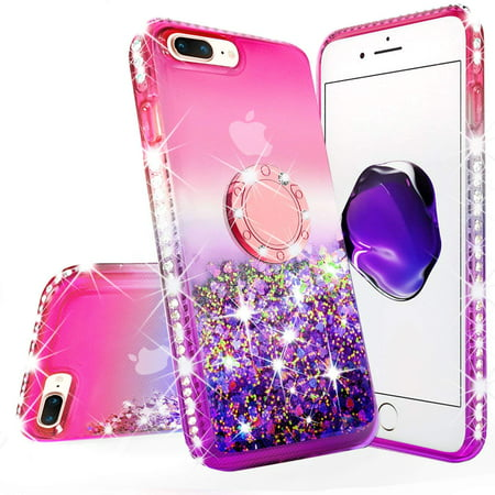 iPhone 7 Case, iPhone 8 Case, Liquid Floating Quicksand Glitter Phone Case Girls Kickstand,Bling Diamond Bumper Ring Stand Protective Pink iPhone 7/8 Case for Girl Women, Hot Pink - image 1 of 5