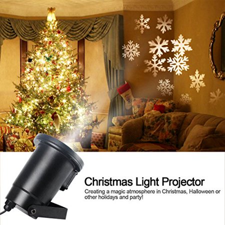 gemtune christmas light projector led with moving white snowflakes indoor and outdoor waterproof ceiling projection - Moving Outdoor Christmas Decorations