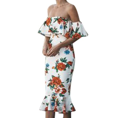 Off Shoulder Dresses for Women Bandage Bodycon Floral Print Ruffle Evening Cocktail Frill Backless Club Night Out Dress Long Midi Prom Ball Gowns