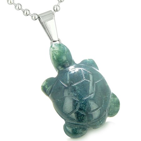 Good Luck Charm Turtle Amulet Indian Green Agate Healing Powers Pendant 18 Inch