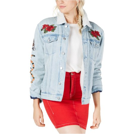 Kendall Kylie Womens Fleece Lined Jean Jacket, blue, Small Lined Microsuede Jacket