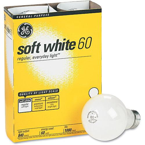 GE Incandescent Globe Bulbs, 60 Watts, 4/Pack