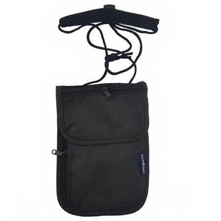 Multi-functional Ultra-thin Anti-theft Travel Neck Wallet Pouch Security Money Passport Holder Bag (Black)