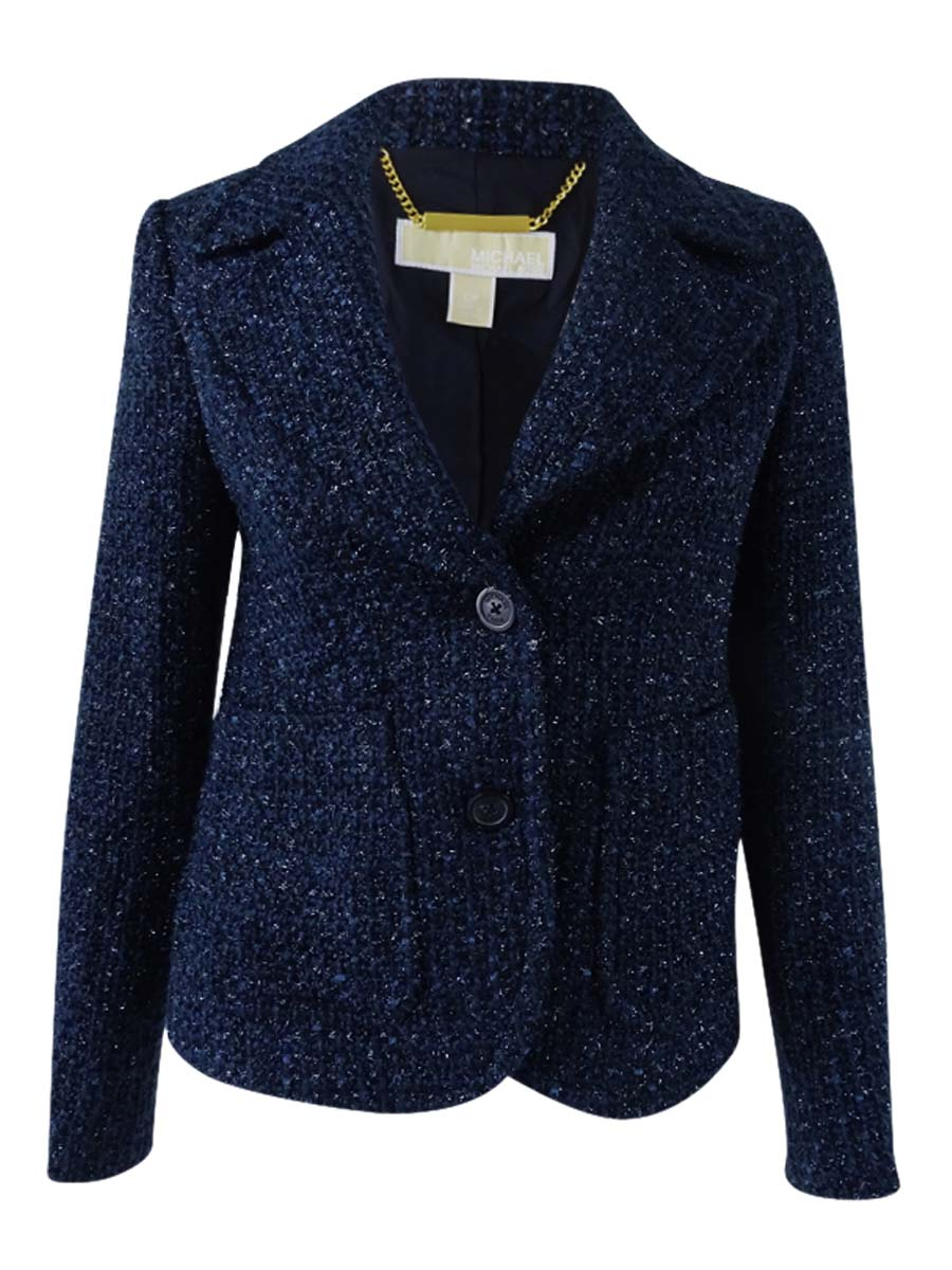 Michael Michael Kors Womens Petite Textured Blazer (0P, New Navy)