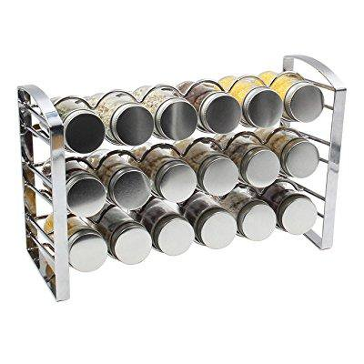 Empty Roller Rack (esylife counter spice rack stand holder with 18 empty glass bottle, chrome )