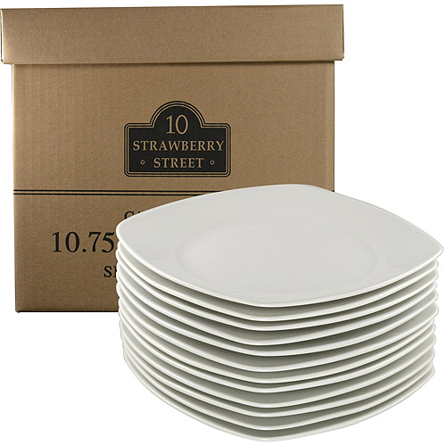 "10 Strawberry Street Catering Pack 10.5"" Square Dinner Plates, White, Set of 12"