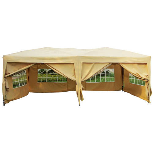 10' x 20' Canopy Party Tent Gazebo with 6 Side Walls, Beige