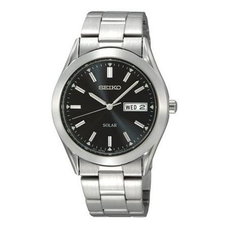 Seiko Men's Silvertone Black Dial Solar Calendar Watch