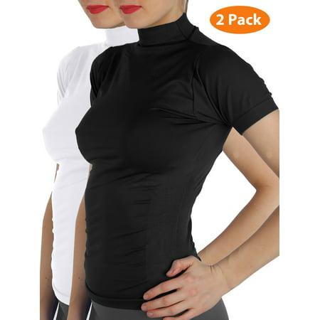 - 2 Pack Women Short Sleeves Mock Neck Turtleneck Shirts Stretchy Side Ribbed Slim Fit Tight Top