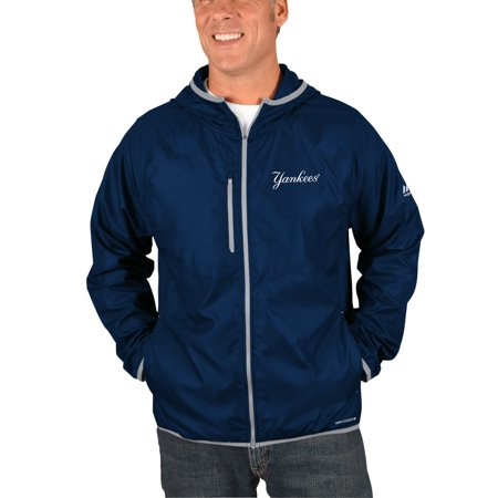 New York Yankees Majestic Strong Will Dry Base Full-Zip Hooded Jacket - Navy