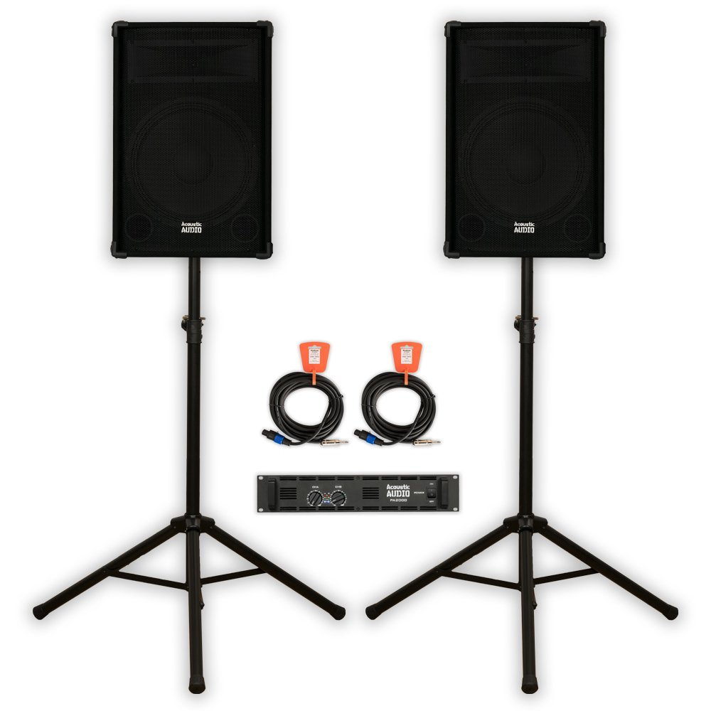 "Acoustic Audio DR15 PA 15"" Speaker Set with Amp Stands and Cables 2-Way for DJ Karaoke Band"