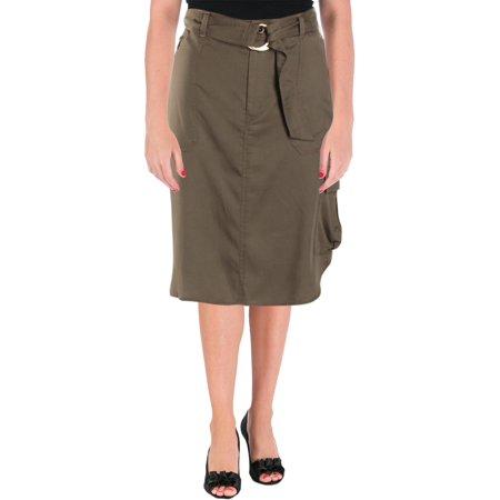 Belted Pencil Skirt - Lauren Ralph Lauren Womens Alkessa High-Low Belted Pencil Skirt