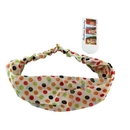 Color Sprinkles Polka Dots On White Stretch Headband (70s Head Band)