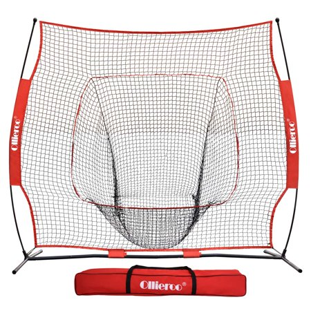 Ollieroo 7'x7' Baseball and Softball Practice Net for Hitting, Pitching, Backstop Screen Equipment Training Aids Red / Black, Includes Carry Bag Pitching Machine Screen