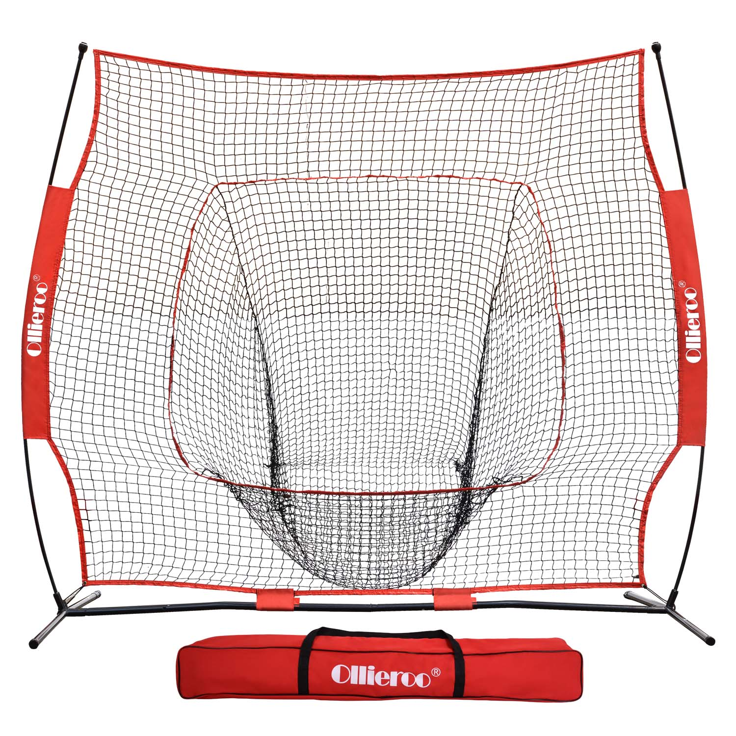 Ollieroo 7'x7 Baseball and Softball Practice Net for Hitting, Pitching, Backstop Screen Equipment Training Aids Red / Black, Includes Carry Bag