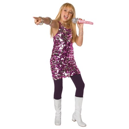 Living Fiction Planet Pop Star Diva Sequin Girl Costume, Purple, Small 4-6
