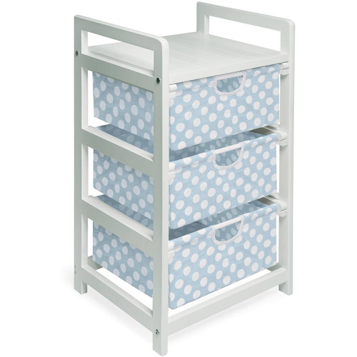 Badger Basket 3-Drawer Hamper Storage Unit, White with Blue Polka Dots Bins by Badger Basket