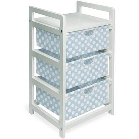 Badger Basket 3-Drawer Hamper/Storage Unit, White with Blue Polka Dots Bins ()