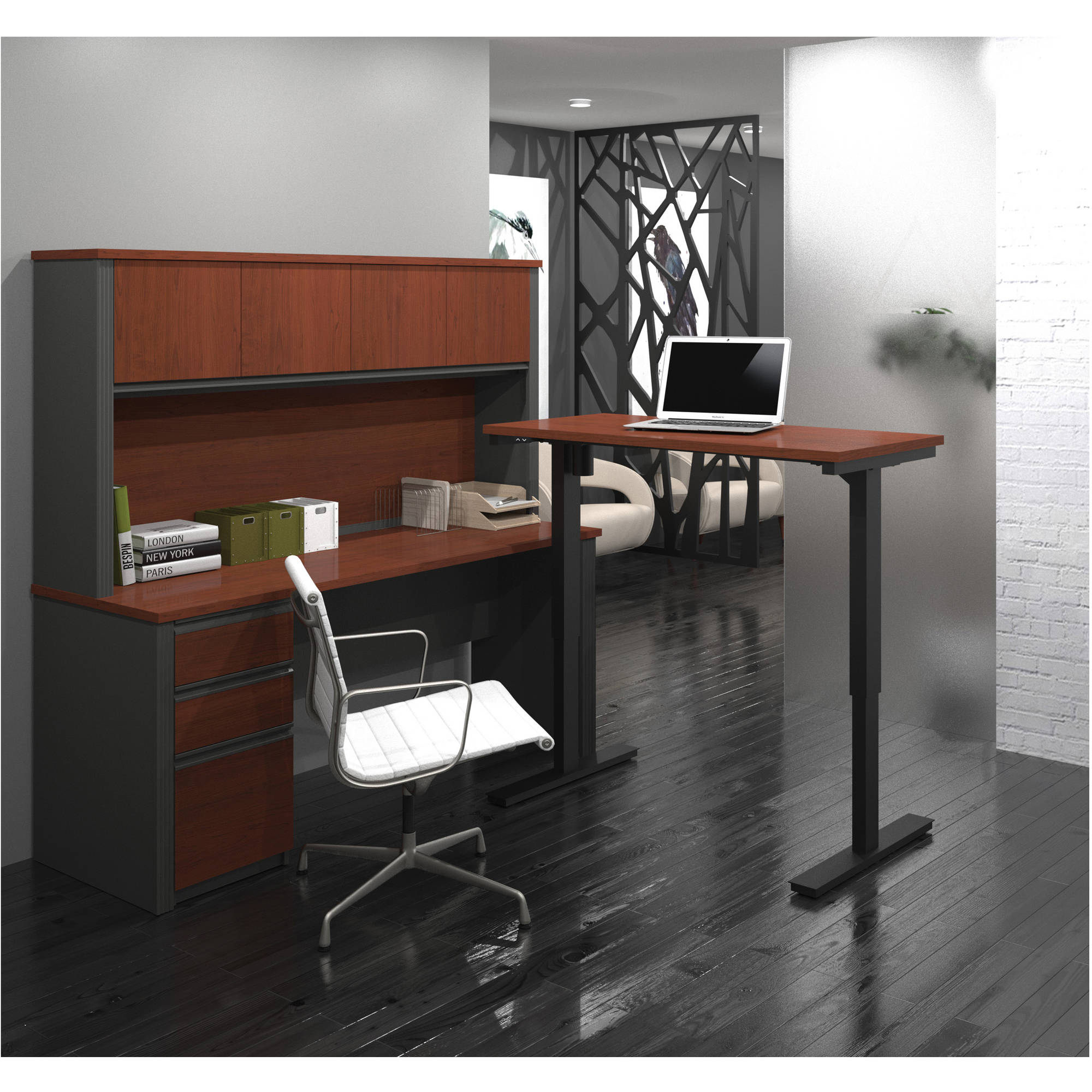 Bestar Prestige + L-Desk with Hutch Including Electric Height Adjustable Table, Multiple Colors
