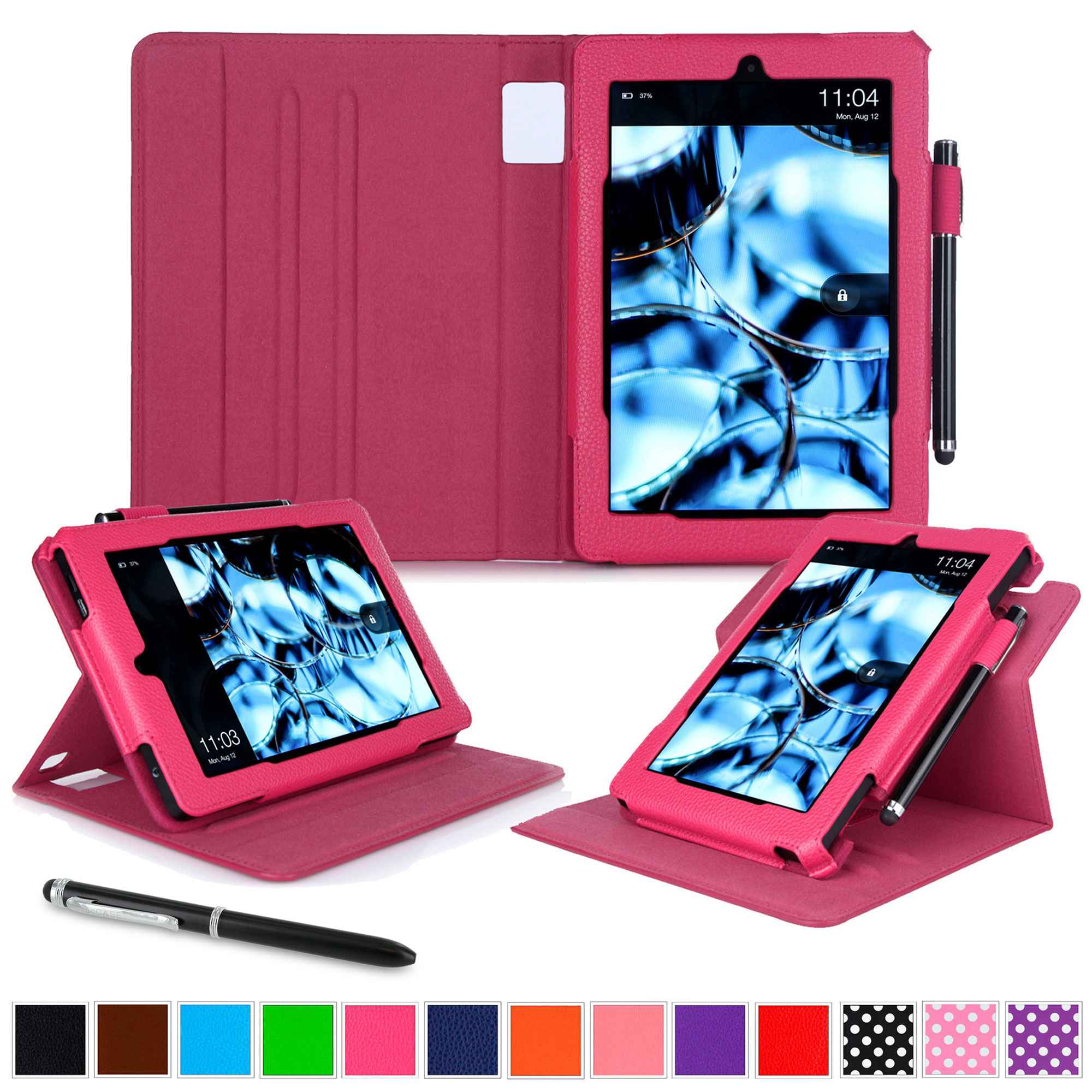 Kindle Fire HD 7 Tablet (2014) Case, roocase 2014 Kindle Fire HD 7 Dual View Folio Case with Sleep / Wake Smart Cover Stand for 2014 Model Fire HD 7 Tablet (4th Generation), Magenta