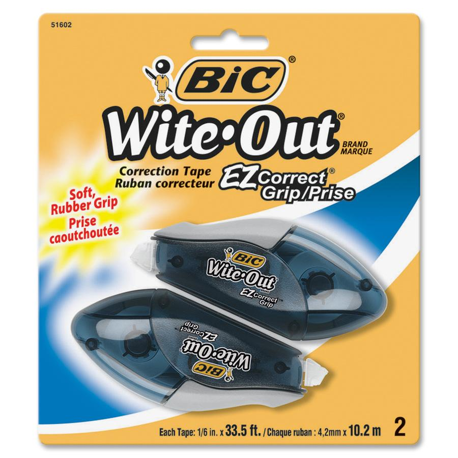 BIC Wite-Out Brand EZ Correct Grip Correction Tape, White, 2 Count
