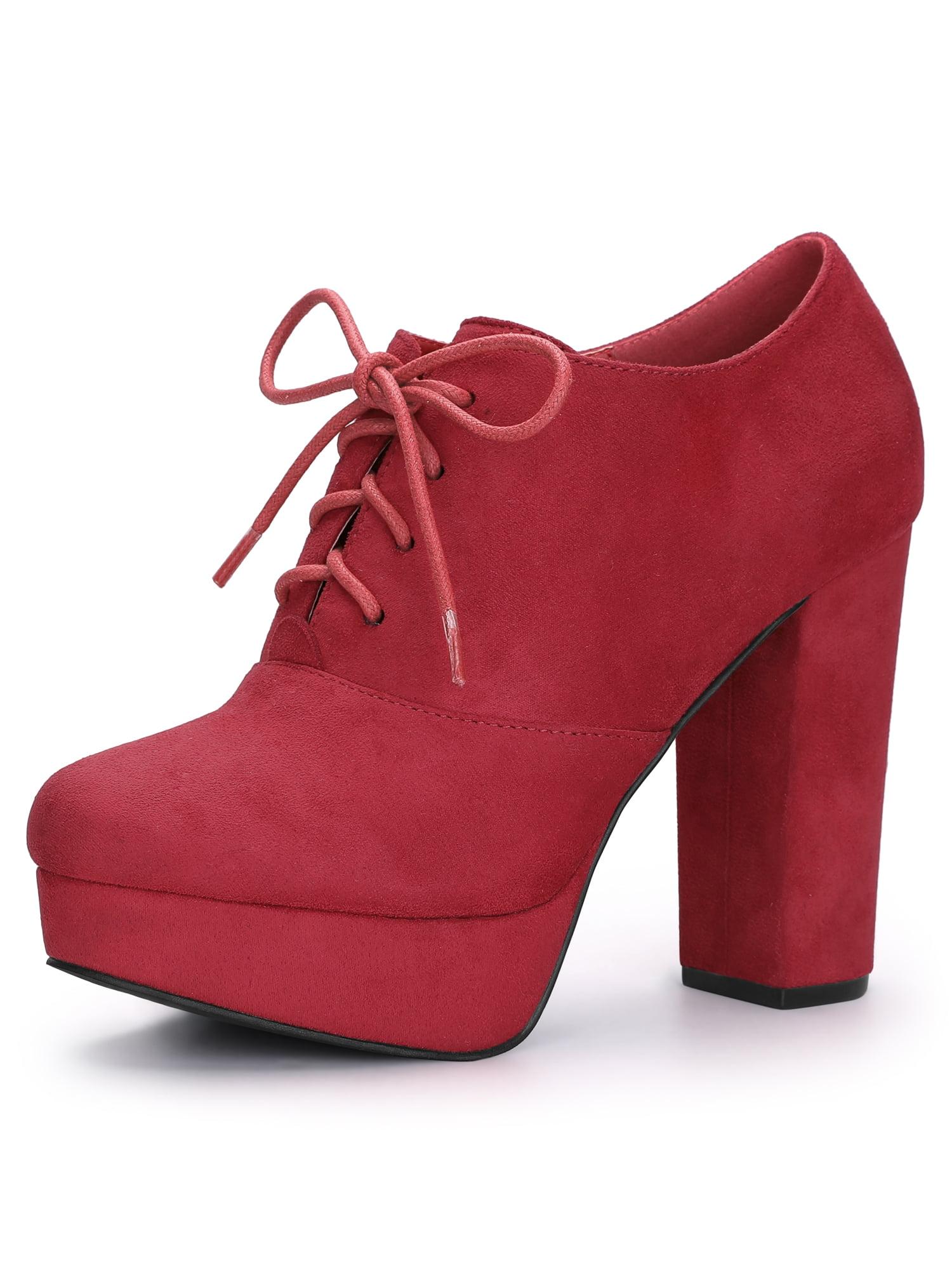 Women's Platform Block Heel Lace Up Ankle Boots Black (Size 6)