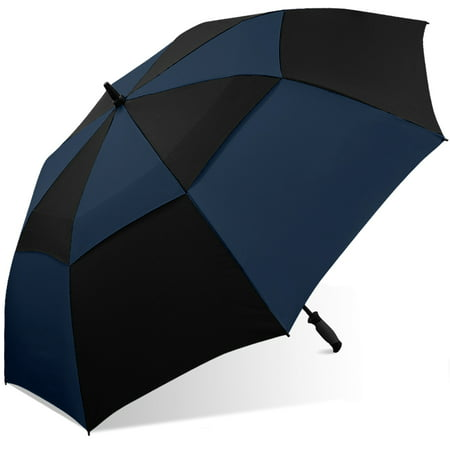 d342f16675963d 60 Double canopy golf umbrella, windproof, with black rubberspray molded  handle