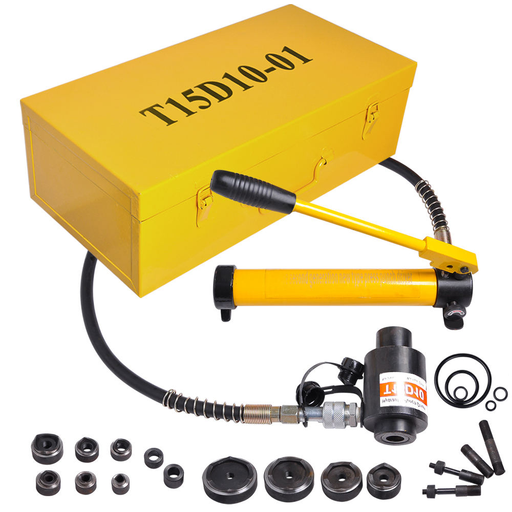 "Yescom 15 Ton 1/2"" to 4"" Hydraulic Knockout Punch Driver Kit Hole Complete Tool 10 Dies 11 14 Gauge Tool Metal Case"