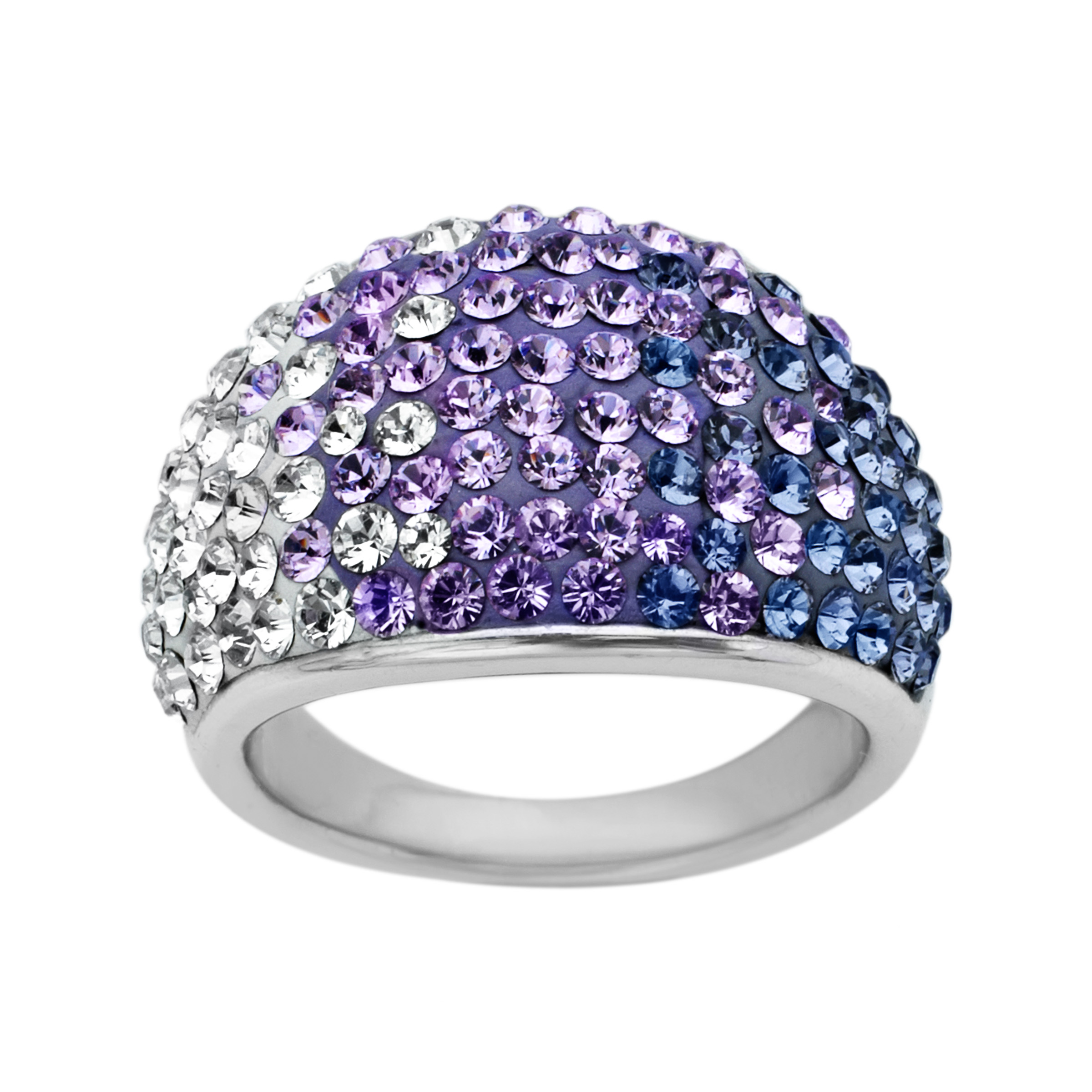 Crystaluxe Dome Ring with Purple-Lavender-White Fade Swarovski Crystals in Sterling Silver