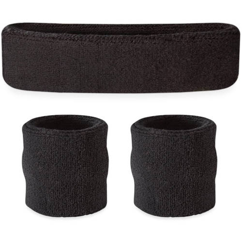 Suddora Sweatband Set - (1 Headband and 2 Wristbands) High Quality Cotton for Sports & More