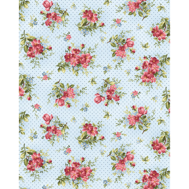 Roses on the Vine~Small Bouquets on Soft Blue Cotton Fabric by Maywood Studio