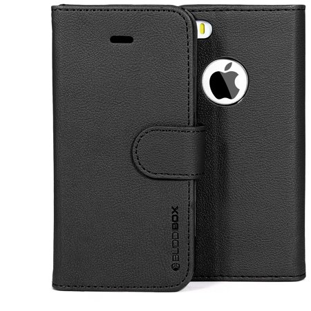 BUDDIBOX iPhone SE Case Premium PU Durable Durable Leather Wallet Folio Protective Protective Cover Case for Apple iPhone