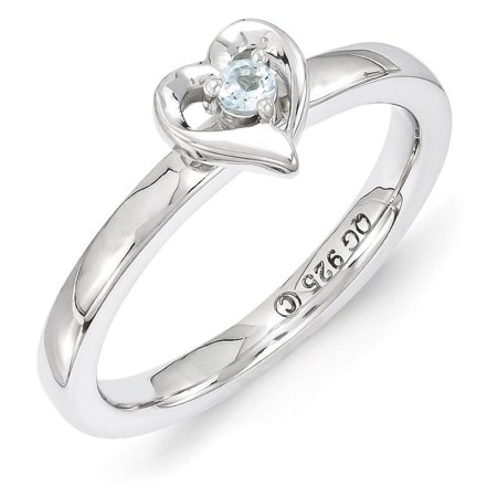 Sterling Silver Stackable Expressions Aquamarine 6mm Heart