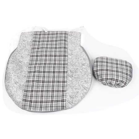 Gray Check Pattern Auto Car Truck Seat Cover Protector Set