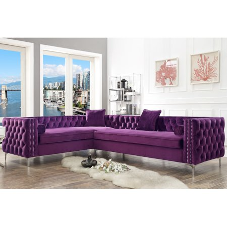 Enjoyable Craig Purple Velvet Corner Sectional Sofa 120 Left Facing Button Tufted Nailhead Trim Ibusinesslaw Wood Chair Design Ideas Ibusinesslaworg