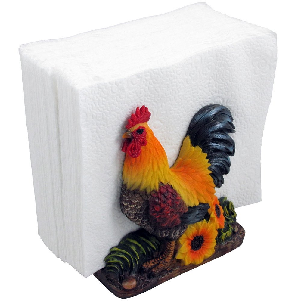 Proud Rooster Napkin Holder With Sunflower Accents For Rustic Farm Table  Centerpiece Or Country Kitchen Decor