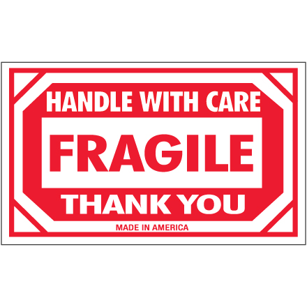 image regarding Fragile Printable named SCL576 Crimson / White Semi-Gloss Lined Paper 3 Inch x 5 Inch Sensitive Take care of With Treatment Labels Developed Inside United states ROLL OF 500