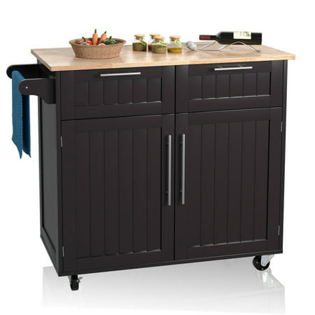 Costway Rolling Kitchen Cart Island Heavy Duty Storage Trolley Cabinet Utility