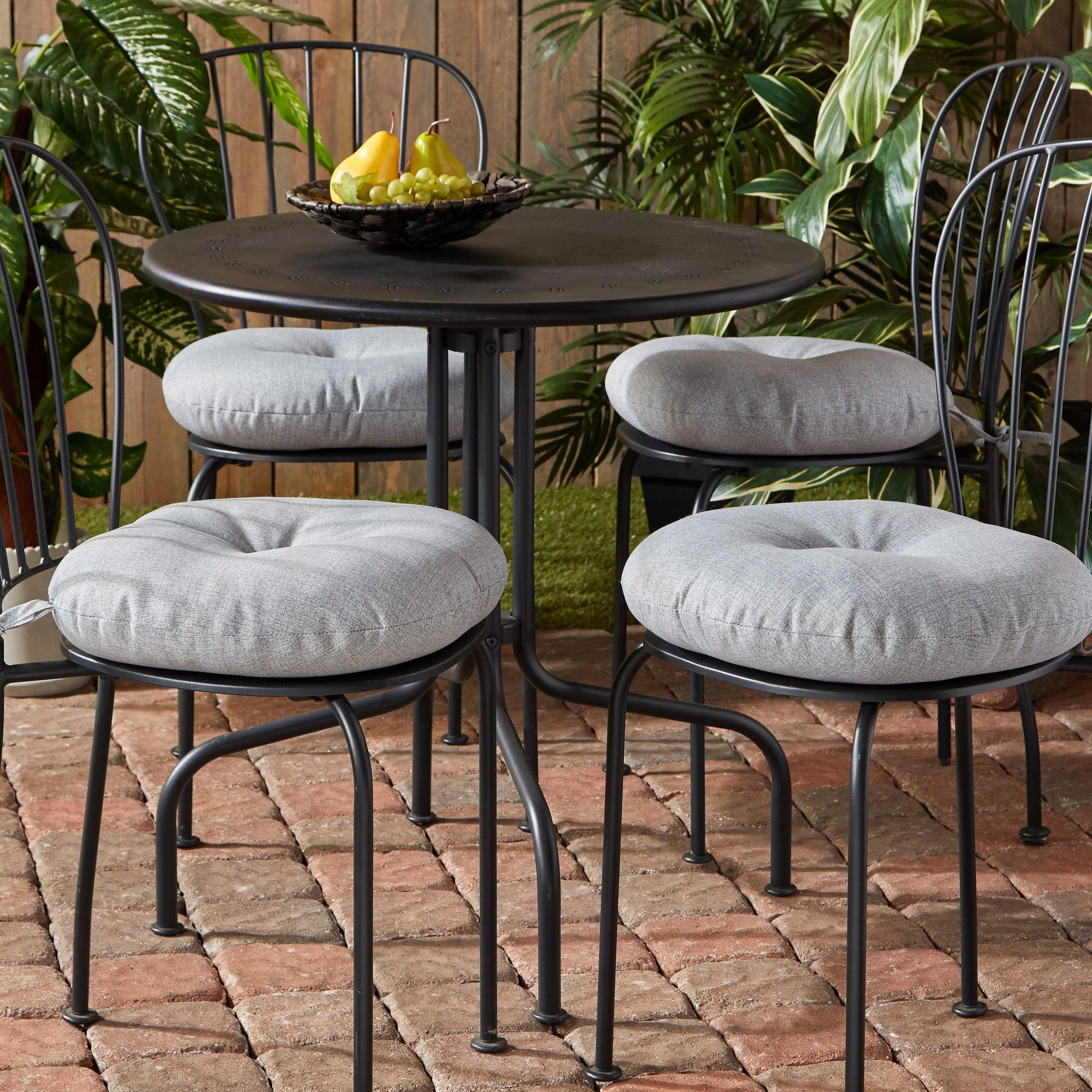 Heather Gray 15 Inch Outdoor Round Bistro Chair Cushion 4 Pack Walmart Com Walmart Com