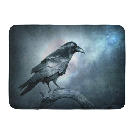 SIDONKU Black Raven in Moonlight Perched on Tree Scary Creepy Gothic Setting Cloudy Night Halloween Doormat Floor Rug Bath Mat 23.6x15.7 inch - Floor 10 On 100 Floors Halloween