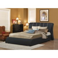 Courtney Full Platform Bed in Black Faux Leather