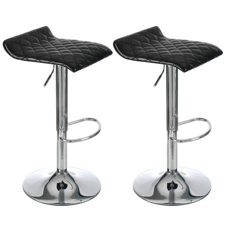 ELECWISH Adjustable Barstool Rustic Leather Set of 2 Counter Bar Chair Height Swivel Tufted Modern Chrome Armless Backless Faux Leather Square Footrest Cushion Pub Kitchen 330 lbs Capacity Black Square Chrome Footrest