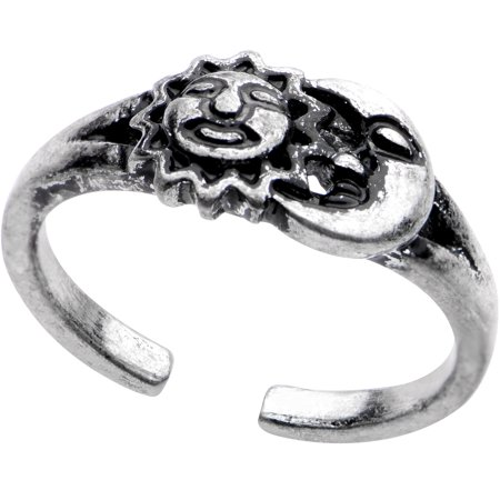 Body Candy Silver Plated Sun and Moon Toe Ring