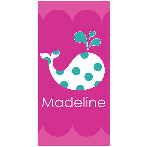 Personalized Whale Beach Towel Fro Boys or Girls